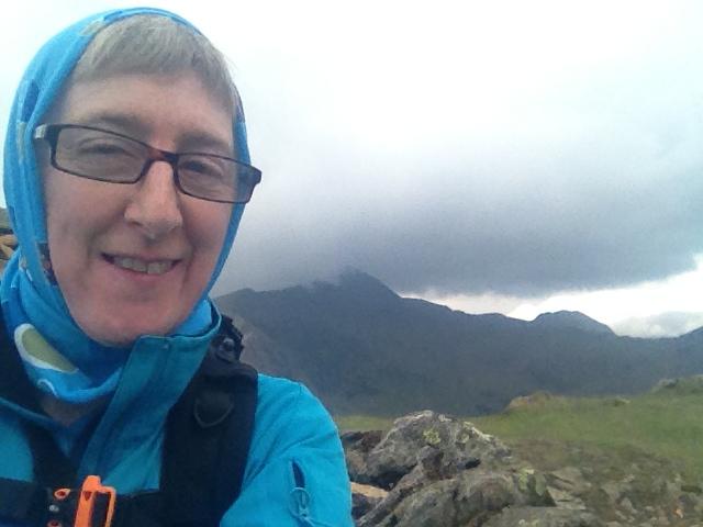On summit of Yr Aran with Yr Wyddfa behind