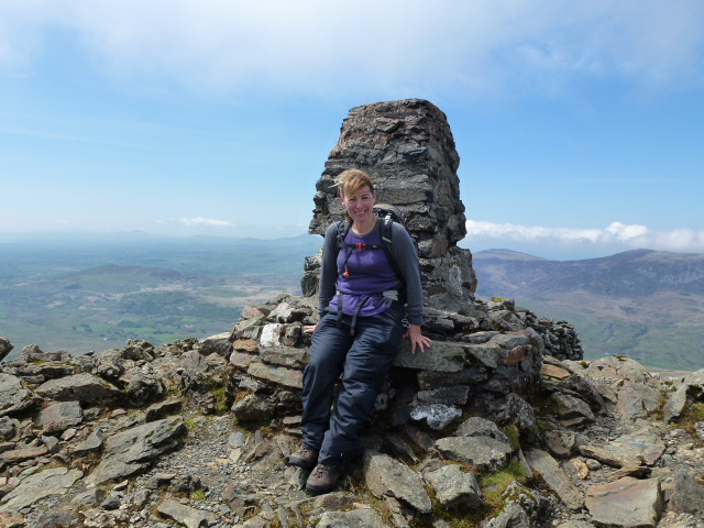 Angela on summit of Moel Hebog