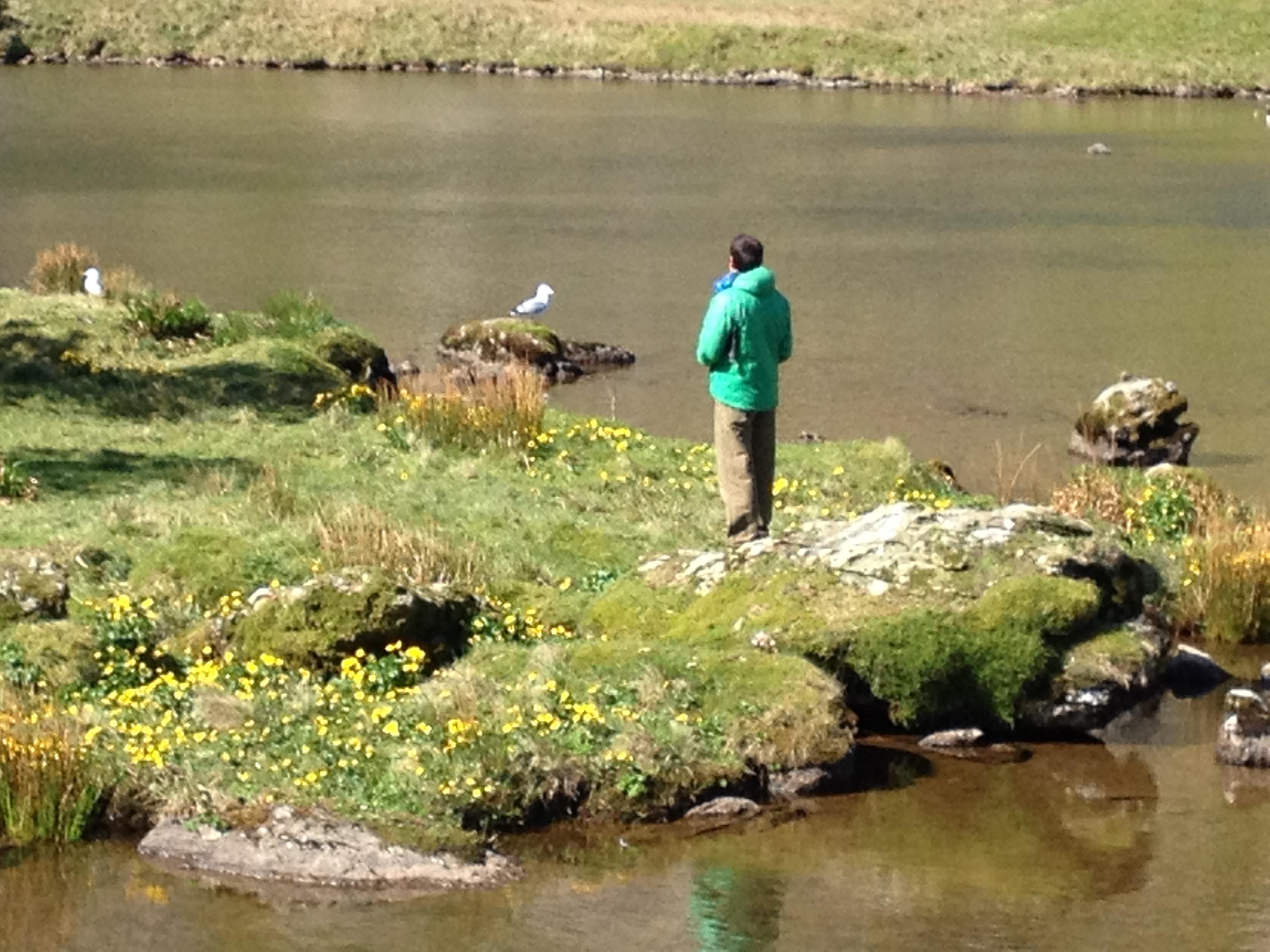 Paul on island in Llyn Glas